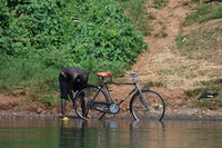bicycle wash Jinja, East Africa, Uganda, Africa