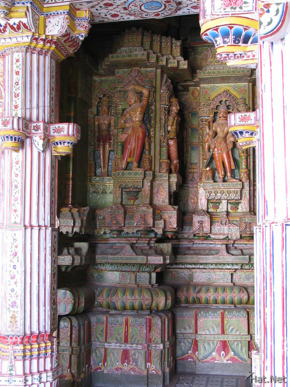 colorful jain carving