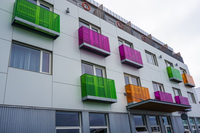 Reykjavik colorful balconies Old West Side,  Reykjavík,  Capital Region,  Iceland, Europe