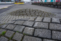 Reykjavik mounded pavement Old West Side,  Reykjavík,  Capital Region,  Iceland, Europe