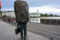 Reykjavik rock man with briefcase Downtown,  Reykjavík,  Capital Region,  Iceland, Europe