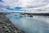 Jokulsarlon Glacier river bridge Snafellsjokull,  East,  Iceland, Europe