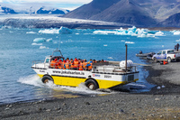 Jokulsarlon Glacier floating car Snafellsjokull,  East,  Iceland, Europe