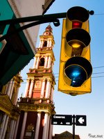 view--traffic light before the holy church Salta, Cafayate, Jujuy and Salta Provinces, Argentina, South America