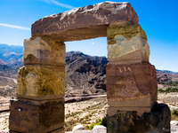 view--the monument arch Purmamarca, Tilcara, Jujuy and Salta Provinces, Argentina, South America