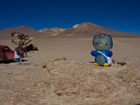 hello kitty and the volcano Laguna Colorado, Potosi Department, Bolivia, South America