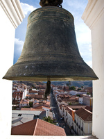 bronze belfry Sucre, Santa Cruz Department, Bolivia, South America