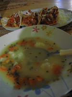 food--vegetarian soup and mexican food Salar de Uyuni, Potosi Department, Bolivia, South America