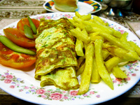 food--vegetarian omelet at hawaii restaurant santa Santa Cruz, Santa Cruz Department, Bolivia, South America