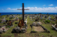 Sword and Cock of Easter Island Cemetery Hanga Roa,  Región de Valparaíso,  Chile, South America