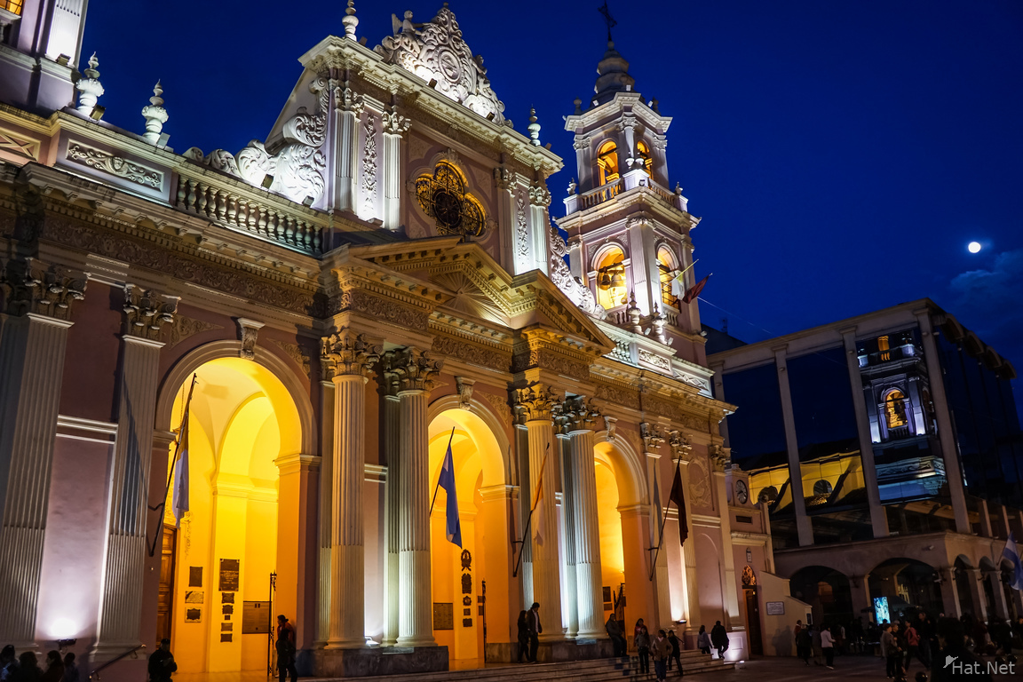 Salta Cathedral at night from front